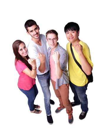 Friend group of happy students isolated over a white background,  caucasian and asian photo