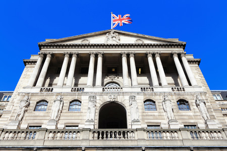 england: Bank of England with flag, The historical building in London, UK