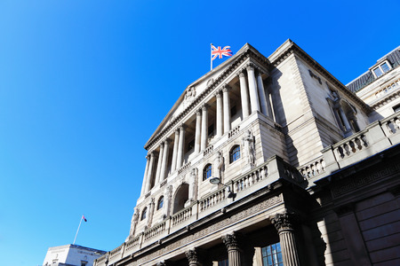 Bank of England with flag, The historical building in London, UK photo