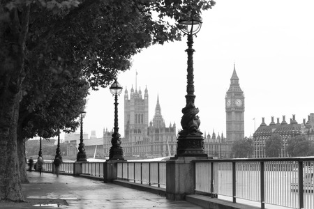 city of westminster: Big Ben and the Palace of Westminster in London, UK. retro monochrome style