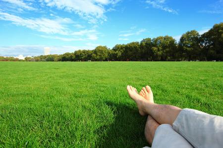 リラックスしながら緑の芝生、ロンドン、イギリス、イギリスのハイドパークで自然を楽しむ