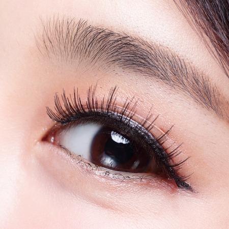 Beautiful woman eye with long eyelashes. asian model photo