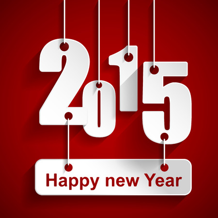 gift of hope: Happy New Year 2015 with red background , happy New Year and merry xmas concept. Vector Illustration