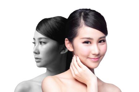problema: Mujer Cuidado de la piel antes y despu�s - retrato de la mujer con la cara de la belleza y la piel perfecta aisladas sobre fondo blanco, asi�tico