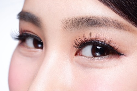Beautiful woman eye with long eyelashes. asian model Banque d'images