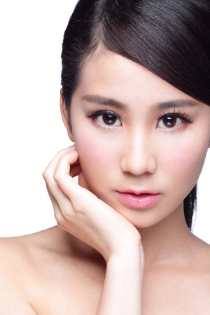 skin care woman: Beautiful Skin care woman Face isolated on white background. asian Beauty