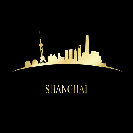 shanghai skyline: Luxury golden Shanghai skyline - vector illustration