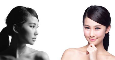skin care woman: Skin Care woman after and before - portrait of the woman with beauty face and perfect skin isolated on white background, asian