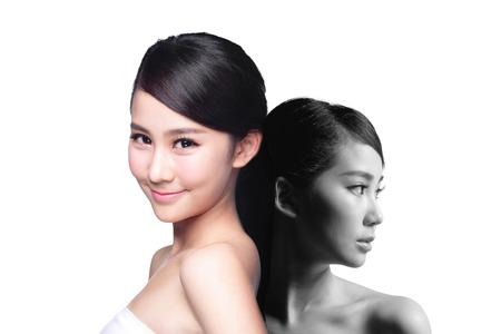 Huidverzorging vrouw na en voor - portret van de vrouw met schoonheid gezicht en perfecte huid geïsoleerd op witte achtergrond, asian