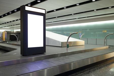 Blank Billboard in airport shot in united kingdom, london, Heathrow Airport
