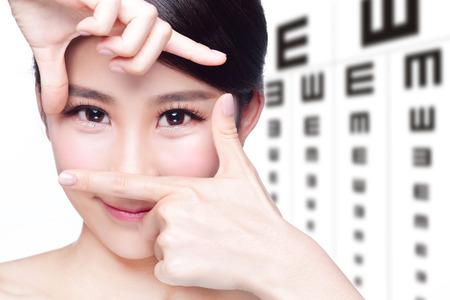 ojo humano: hermosa mujer de ojos de cerca con el fondo de la carta de prueba del ojo, el concepto de cuidado de los ojos, la belleza asi�tica