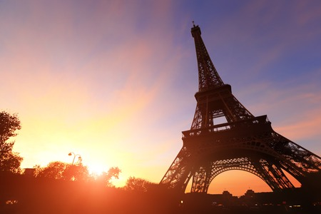 steel tower: silhouette of eiffel tower in Paris with sunset Stock Photo