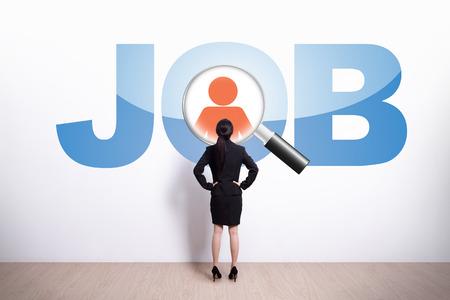 entrevista de trabajo: Concepto de recursos humanos - Volver la vista de mujer de negocios de texto trabajo vistazo