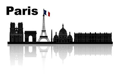 パリのスカイライン - 黒と白のベクトル図のシルエット