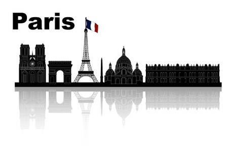 versailles   france: silhouette of Paris skyline - black and white vector illustration