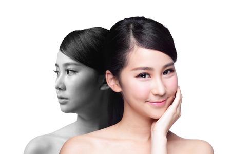 caras: Mujer Cuidado de la piel antes y despu�s - retrato de la mujer con la cara de la belleza y la piel perfecta aisladas sobre fondo blanco, asi�tico