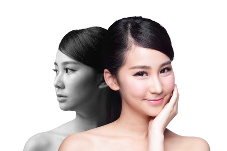 asian girl face: Skin Care woman after and before - portrait of the woman with beauty face and perfect skin isolated on white background, asian