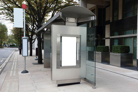 Blank billboard in bus stop, great copy space for your design, shot in London, United Kingdom, uk photo