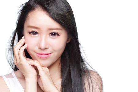 woman face close up: Beauty Skin care concept, Beautiful woman smile face and long hair isolated on white background, asian model Stock Photo