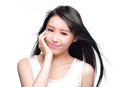skincare: Beauty Skin care concept, Beautiful woman smile face and long hair isolated on white background, asian model Stock Photo