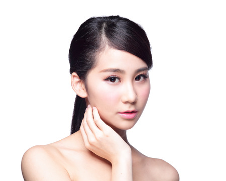 Beautiful Skin care woman Face isolated on white background. asian Beauty