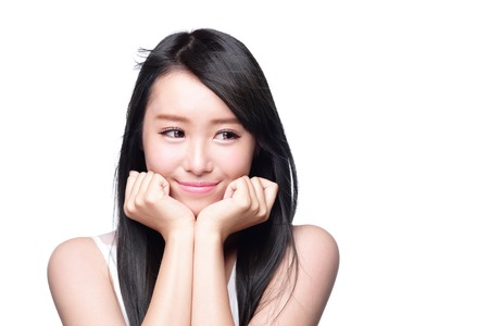 Beautiful smile happy woman eye look to empty copy space isolated on white background. asian model Stock Photo