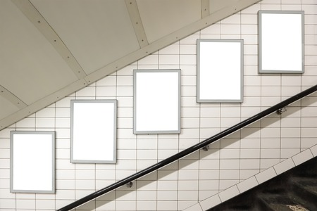 blank spaces: Blank billboard located in underground hall, London, United Kingdom, uk Stock Photo