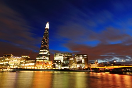 Cityscape of London business building skyline at night, United Kingdom, uk