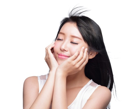 Beauty Skin care concept, Beautiful woman smile face and long hair isolated on white background, asian model photo