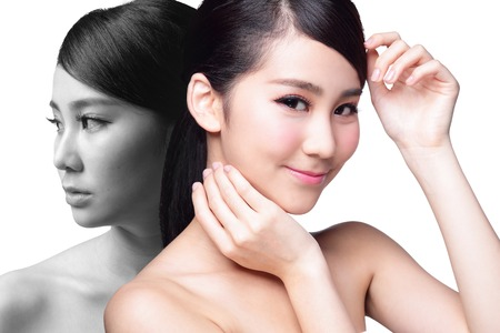 beauty surgery: Skin Care woman after and before - portrait of the woman with beauty face and perfect skin isolated on white background, asian