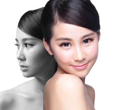 after: Skin Care woman after and before - portrait of the woman with beauty face and perfect skin isolated on white background, asian