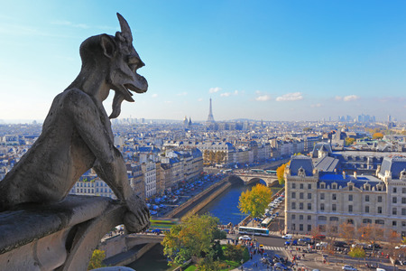 notre dame cathedral: Aerial view of Paris City, eiffel tower and Seine river shot on the top of Notre Dame Cathedral. focus on the stone demon gargoyle Stock Photo