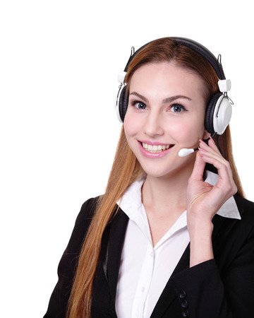 russian woman: Business Woman customer service worker, call center smiling operator with phone headset. isolated on white background, caucasian Stock Photo