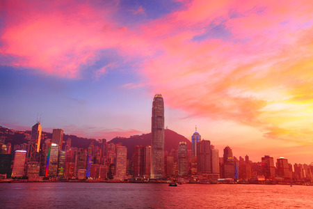 kong river: Hong Kong skyline with sunset in panorama