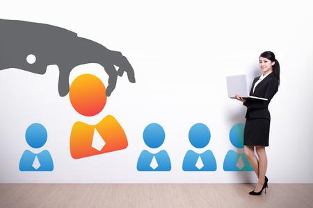 work meeting: Recursos Humanos concepto - mujer de negocios con ordenador port�til