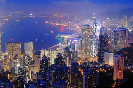 hong kong skyline: Hong Kong night view in panorama