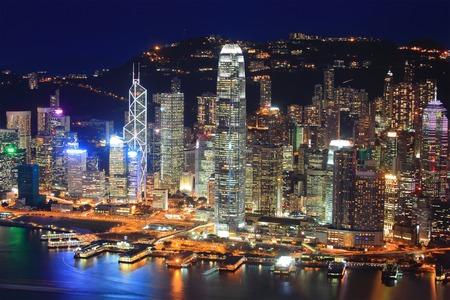 Hong Kong night view in panorama photo