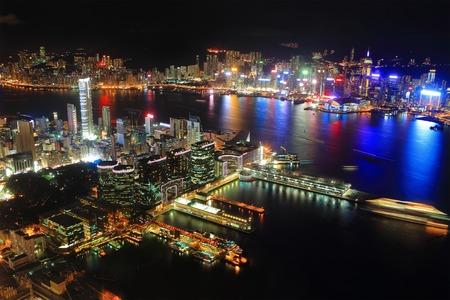 Hong Kong city night view , asia photo