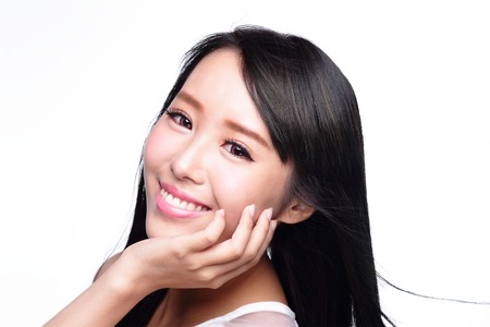 skin care face: Beauty Skin care concept, Beautiful woman smile face with health teeth and hair isolated on white background, asian Stock Photo
