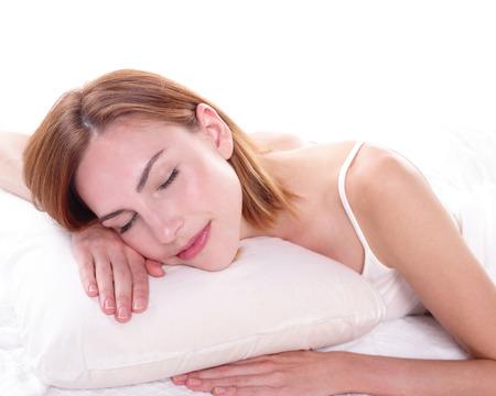 wellness sleepy: Sleeping Girl woman on bed in the morning