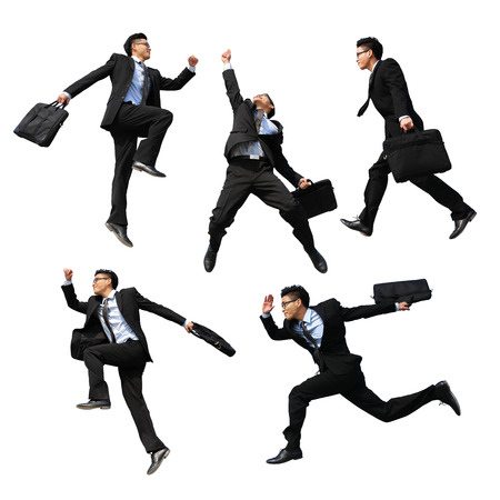 asian guys: Successful business man jump and run isolated with white background