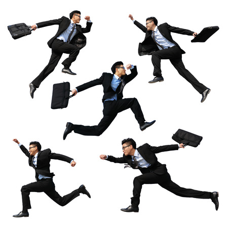 man side view: Successful business man jump and run isolated with white background