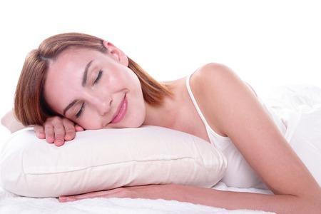 wellness sleepy: Sleep Girl woman on bed in the morning, caucasian beauty