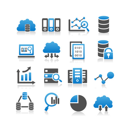 data center data centre: Big Data icon set - Simplicity Series Illustration