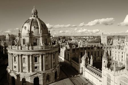 The Oxford University City - Monochrome retro style, Photoed in the top of tower in St Marys Church. All Souls College, United Kingdom, England Editorial