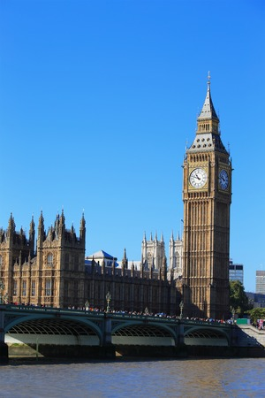 Big Ben and Houses of Parliament with bridge and thames river in London, United Kingdom, uk