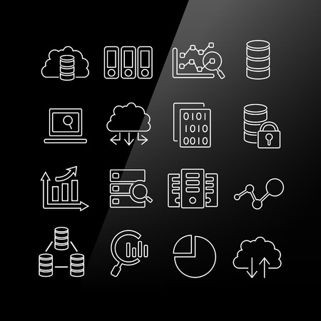 computer security: Big Data icon set - Linear Series