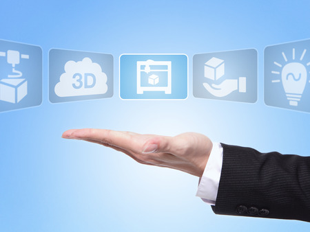 3D print concept , business man hand palm holding all kinds of icon about 3D print with blue background photo