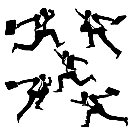 man full body: Silhouettes of happy jump and running Businessmen on white background Illustration