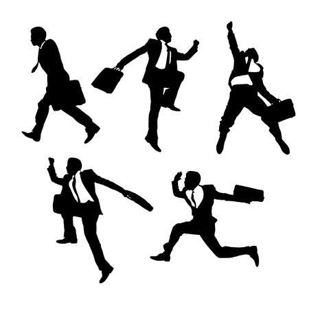 happy business man: Silhouettes of happy jump and running Businessmen on white background Illustration